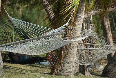 Hammocks on a beach in Yasawa Islands, Fiji