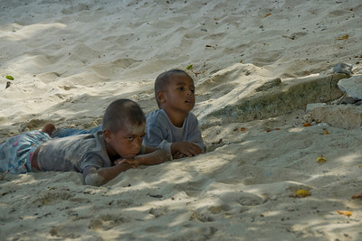 Kids on the beach in Yasawa Islands, Fiji