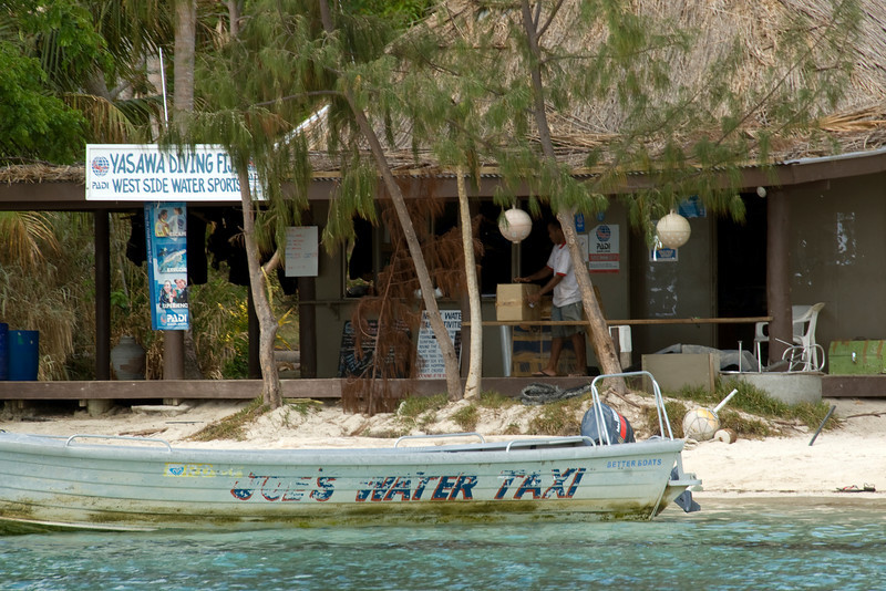 Parked water taxi in Yasawa Islands, Fiji