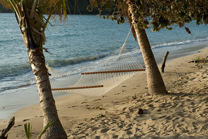 Beach and hammock in Yasawa Islands, Fiji