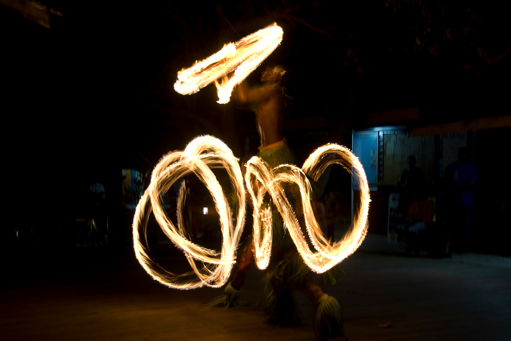 Fire dancers on Naviti Island, Fiji