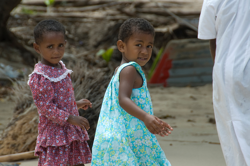 Girls dressed for church, Waya Island, Fiji