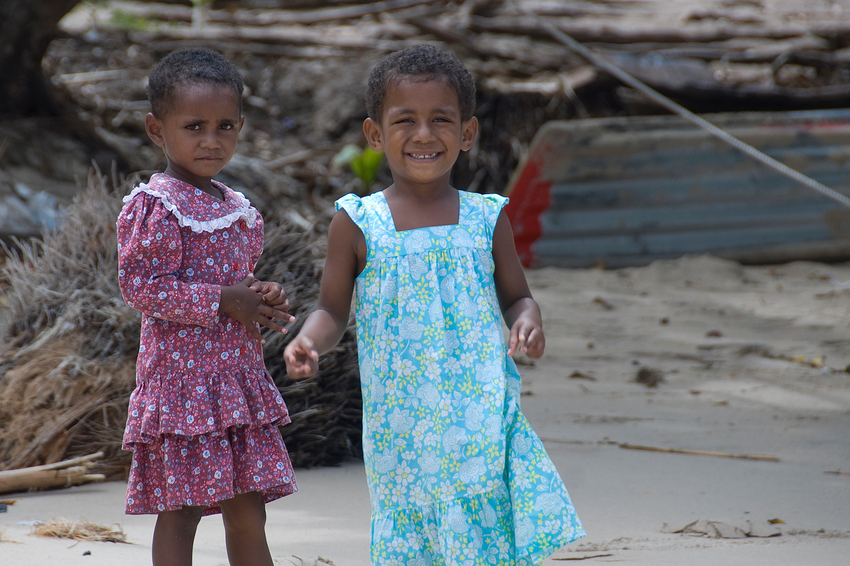 Girls dressed for church, Waya Lailai Island, Fiji