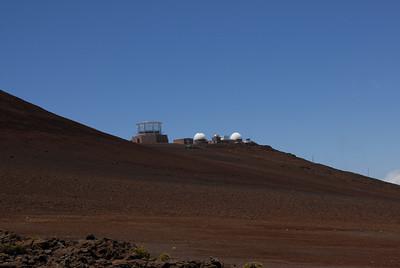 Haleakala Observatory viewed from the Haleakala visitor center - Hawaii