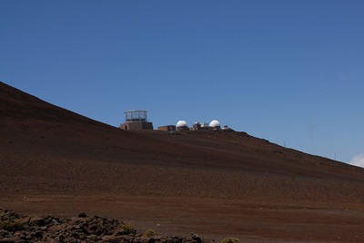 Haleakala Observatory viewed from the Haleakala visitor center - Hawaii