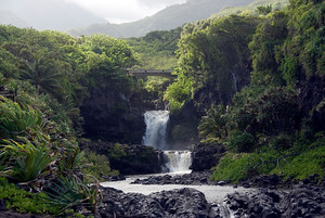 Two Pool Falls, Maui, Hawaii