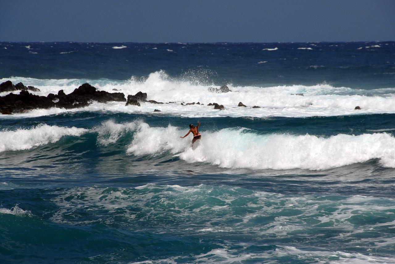 Surfer in the Hana Coast, Hawaii