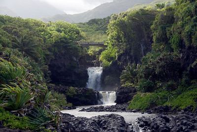 Two Pool Falls in Hana, Hawaii