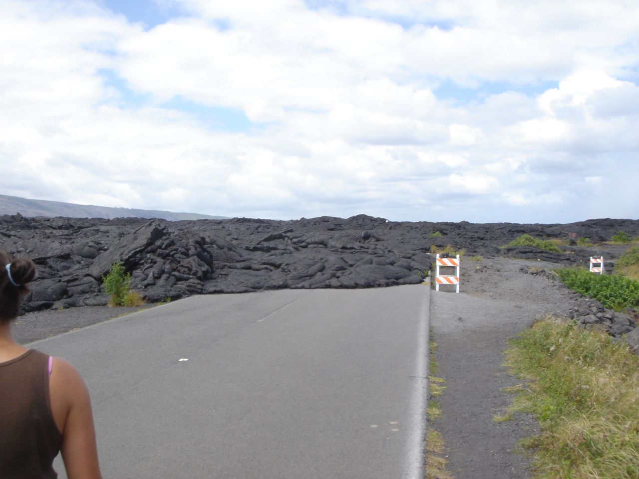 Lava on the road - Volcanoes National Park, Hawaii