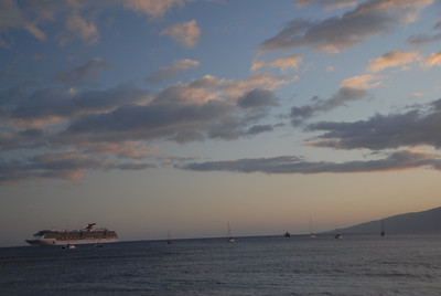 Boat during sunset in Lahaina, Hawaii