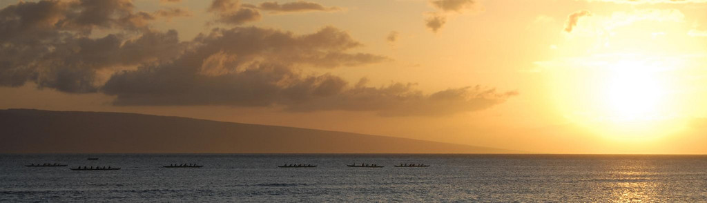 Canoers off Lahaina, Hawaii