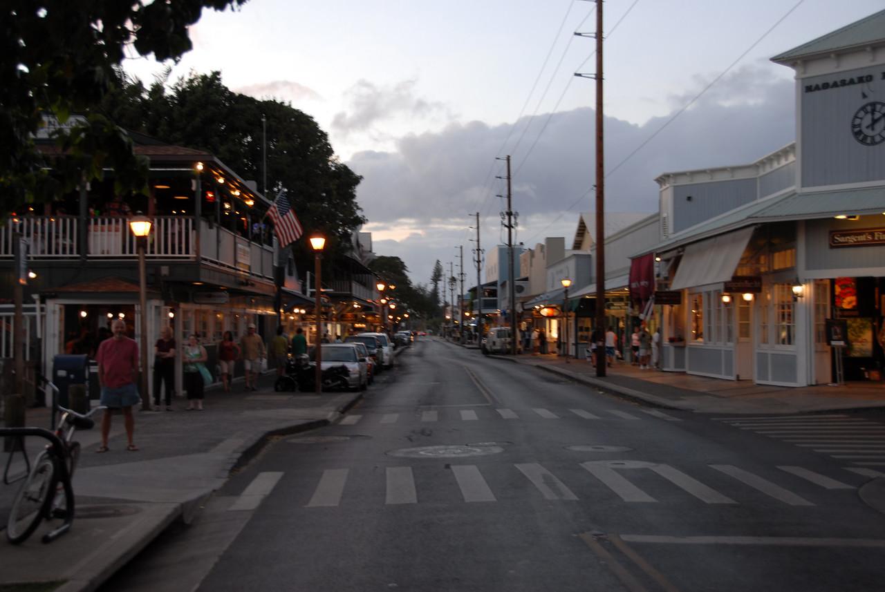 Street scene at dusk in Lahaina, Hawaii