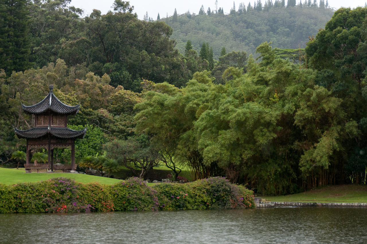 Japanese garden at the Four Seasons Resort in Lanai, Hawaii