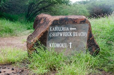 Sign to Shipwreck Beach in Lanai, Hawaii