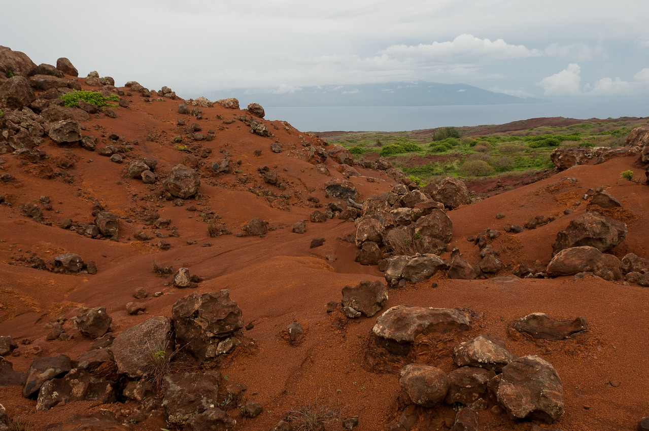 Red sand and boulders in Lanai, Hawaii