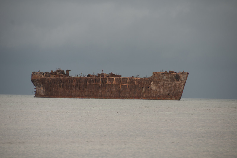 View of the shipwreck from the beach - Lanai, Hawaii