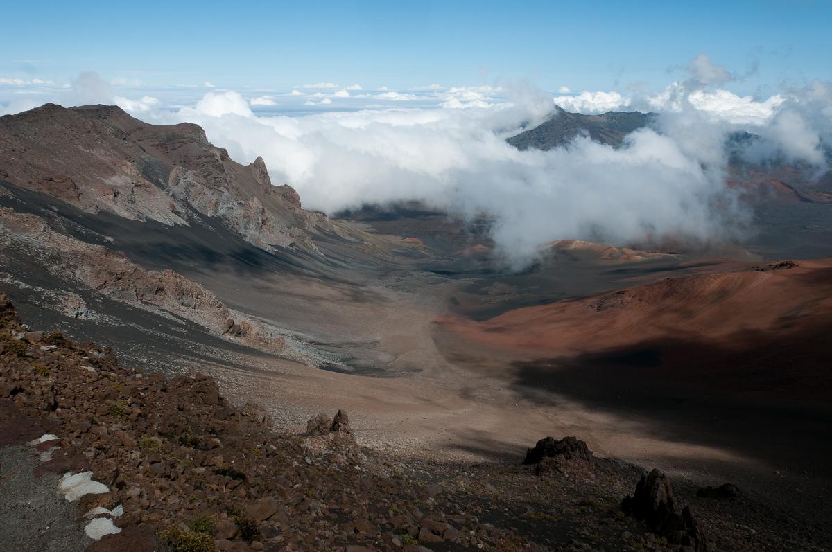 Inside the Haleakala Volcano Crater on the island of Maui