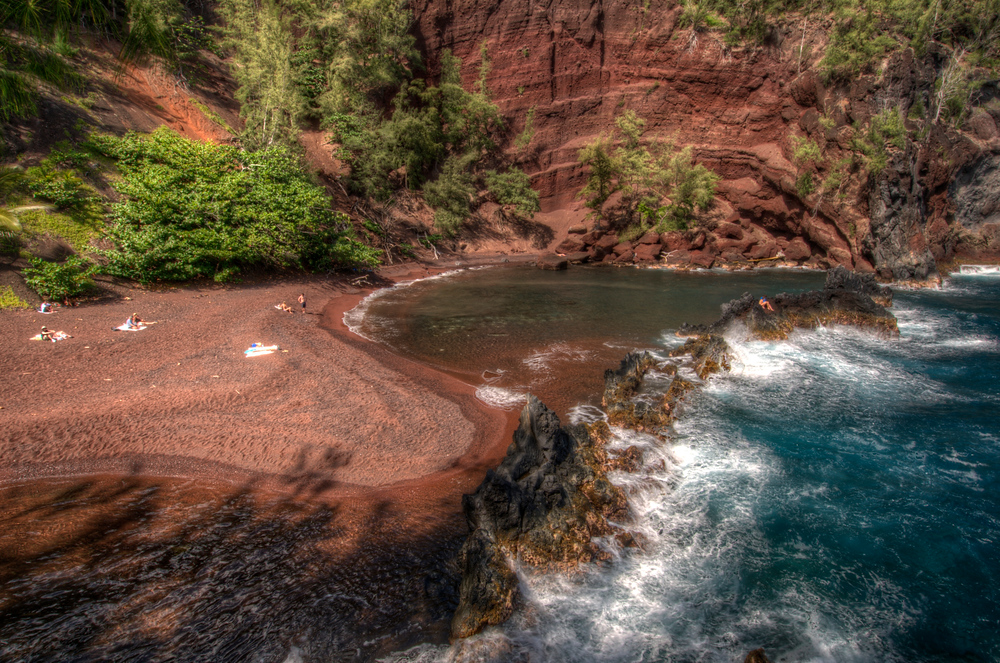 The red sand beach of Hana on the island of Maui