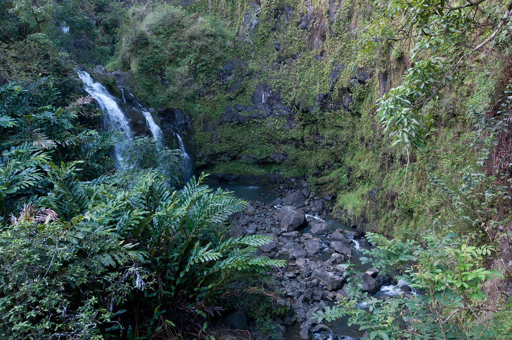 Waterfall near the Hana Highway on the island of Maui
