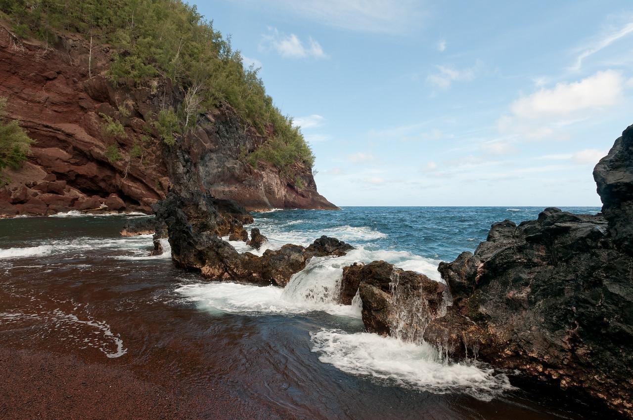 Hana coast and red sand beach in Maui, Hawaii