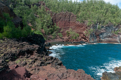 Hana coast and red sand beach in Maui, Hawaii