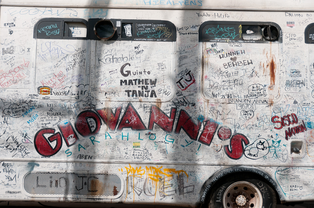 Van with graffiti in Oahu, Hawaii