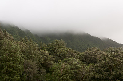 Mist over the mountain in Oahu, Hawaii