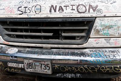 Graffiti on a food truck in Oahu, Hawaii