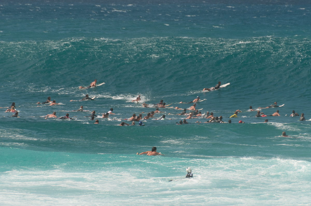 Group of Surfers in the Pacific on Oahu, Hawaii