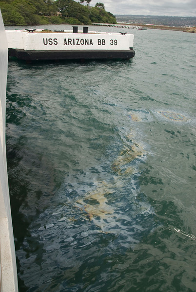 USS Arizona Oil Slick in Pearl Harbor, Hawaii