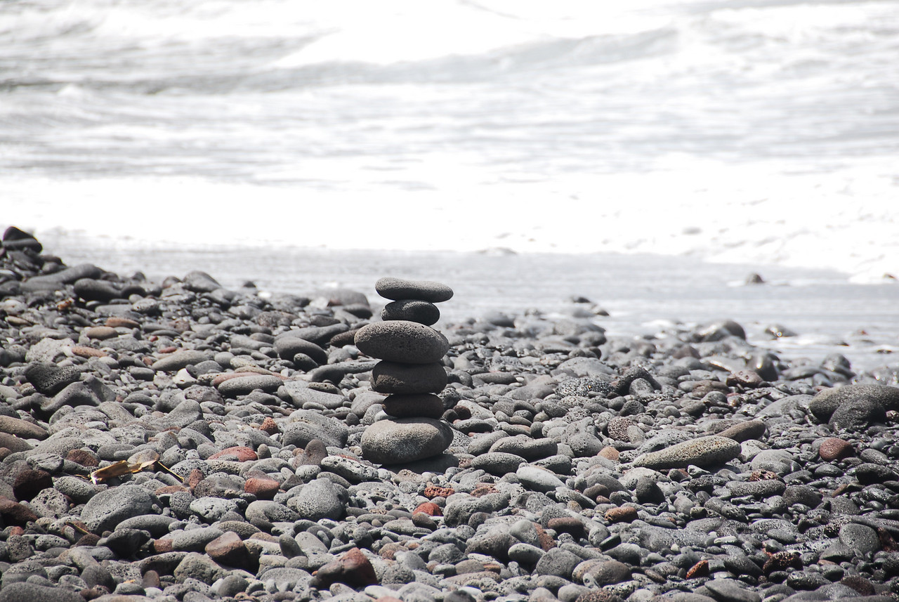 Stack of rocks on the beach - Pololu Valley, Hawaii