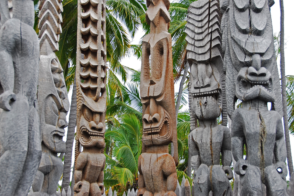 Wood carvings, Pu'ukohola Heiau National Historic Site, Hawaii