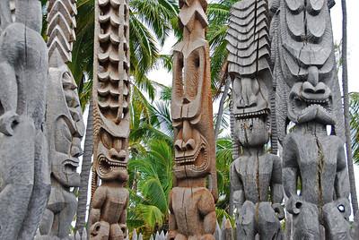 Wood carvings in Puʻukoholā Heiau National Historic Site, Hawaii