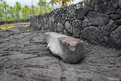 Lava rock walls in Puʻukoholā Heiau National Historic Site, Hawaii