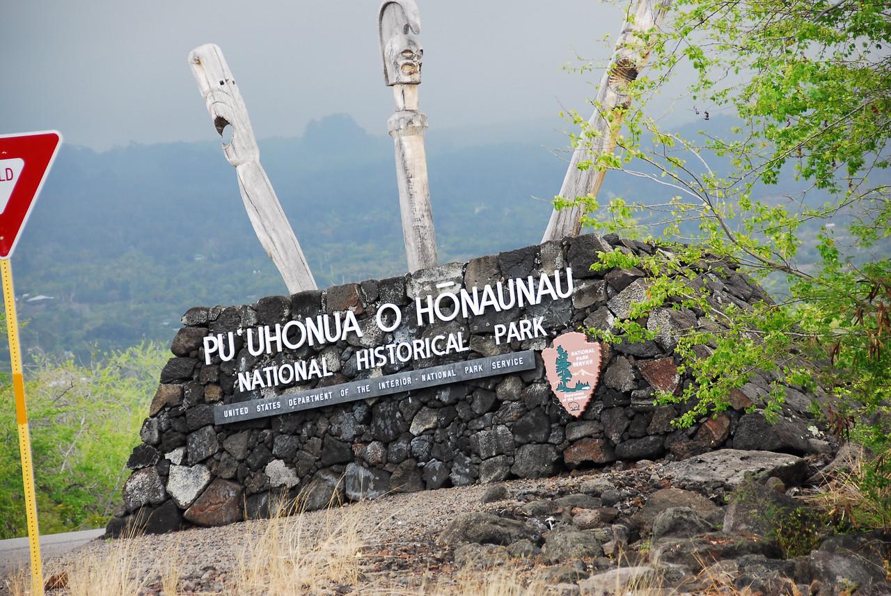 Sign at Puʻukoholā Heiau National Historic Site, Hawaii