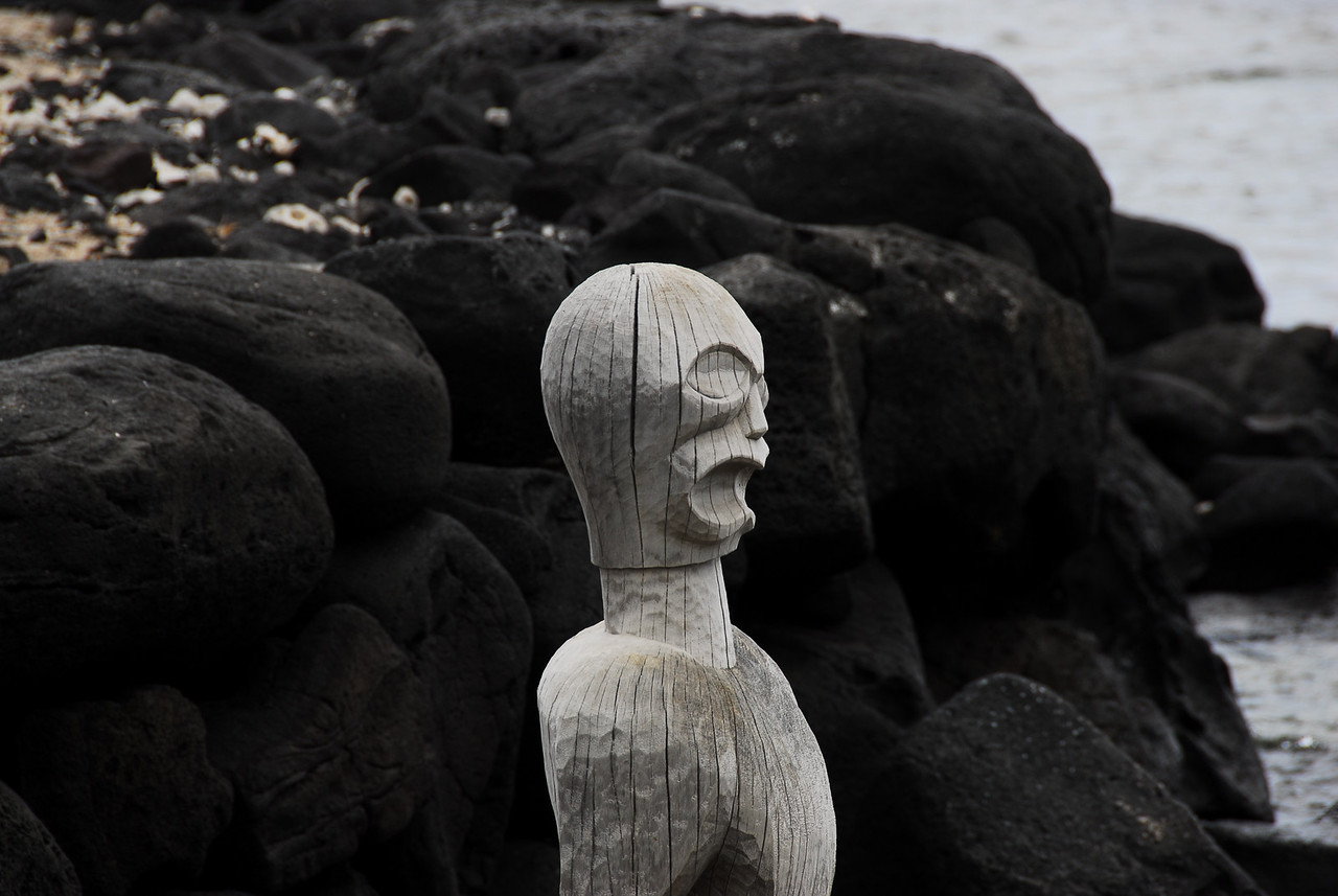 Wood carving in Puʻukoholā Heiau National Historic Site, Hawaii