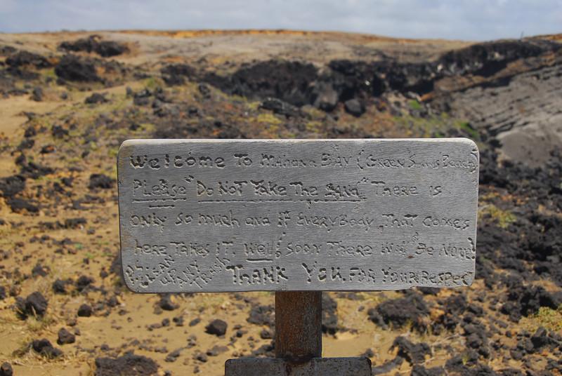 Warning sign at South Point, Hawaii