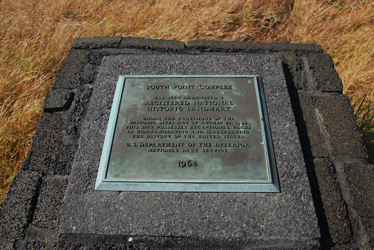 Plaque at South Point Complex, Hawaii