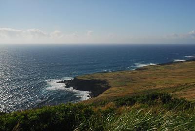 Coastal cliffs in South Point, Hawaii