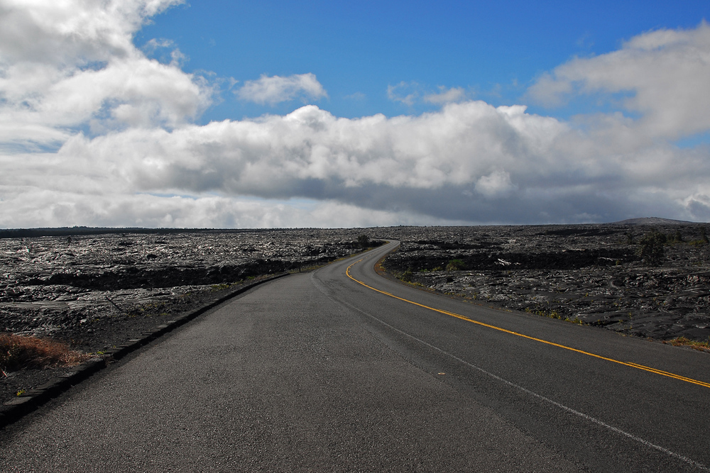 Road through laval field, Volcanoes National Park, Hawaii