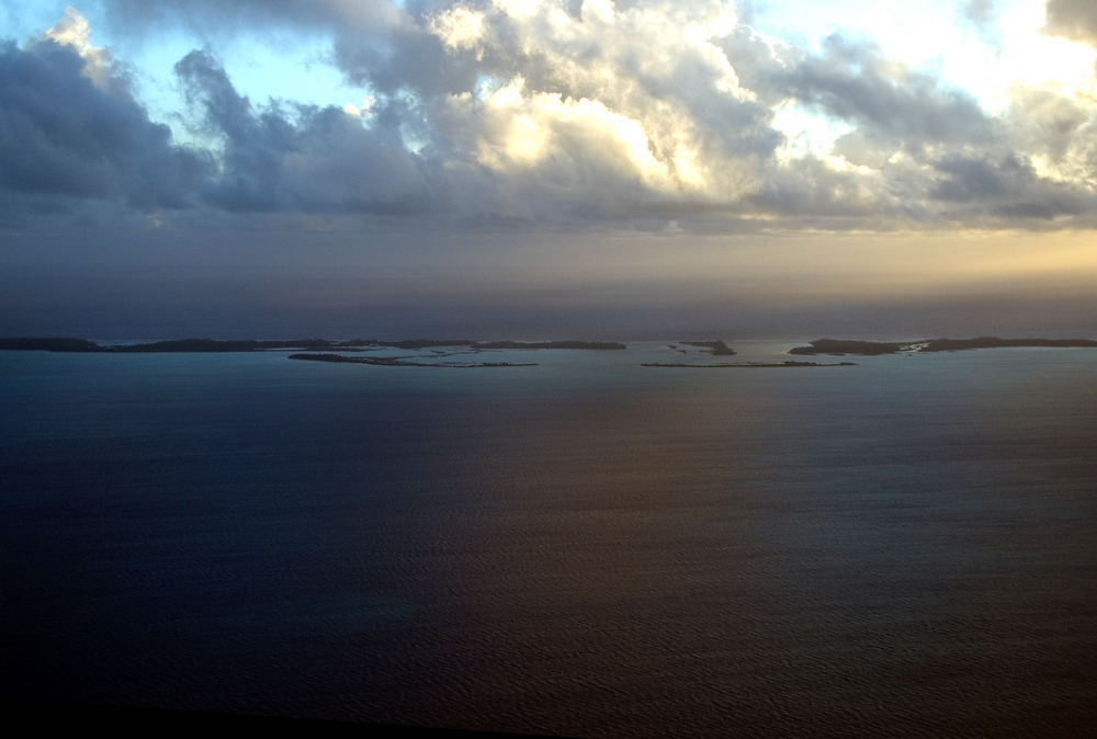Tarawa Atoll, Kiribati at sunrise from airplane