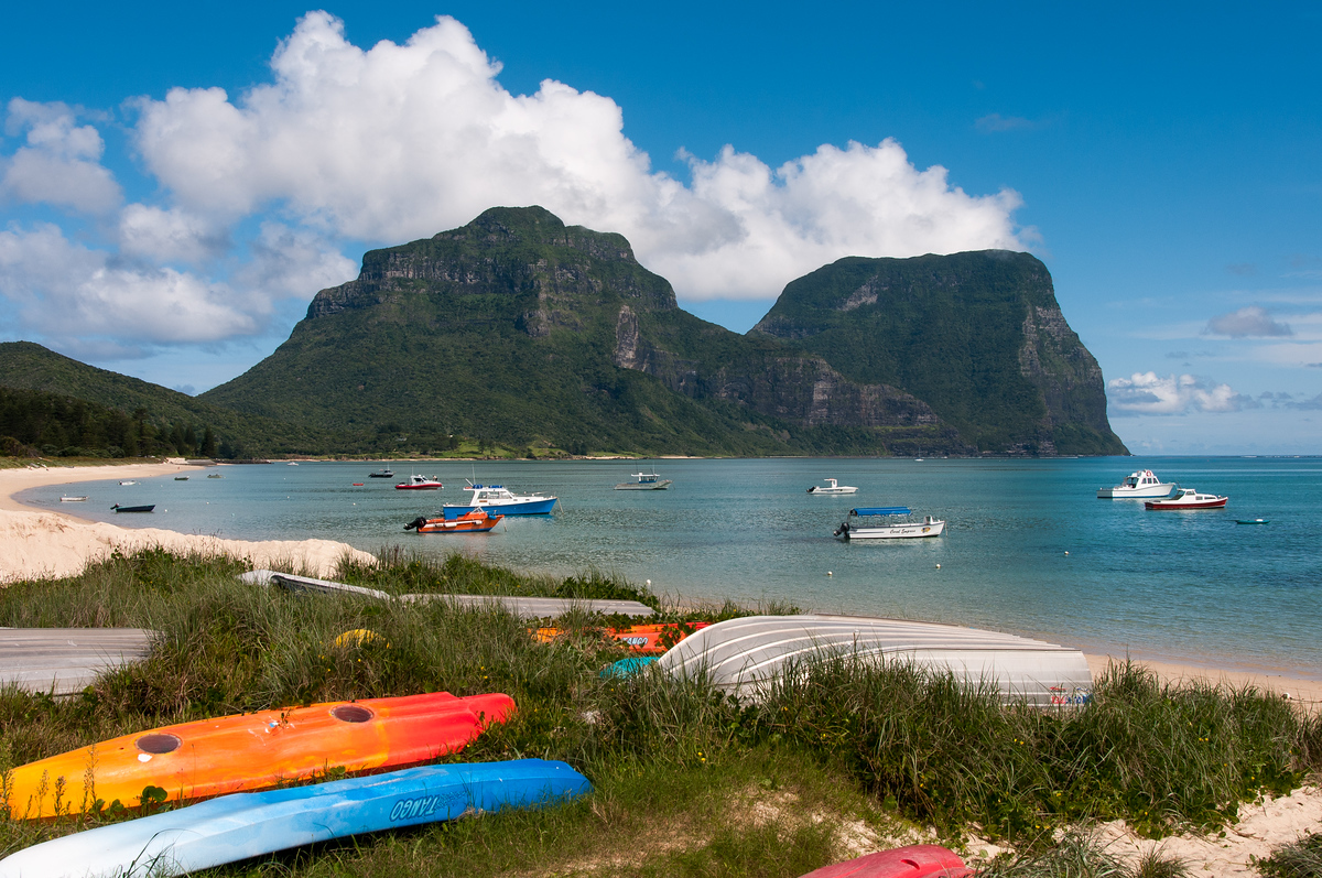 Boats in the Lagoon on Lord Howe Island, Australia