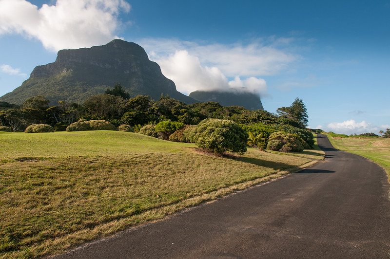 Road with a view of Mt Gower in Lord Howe Island