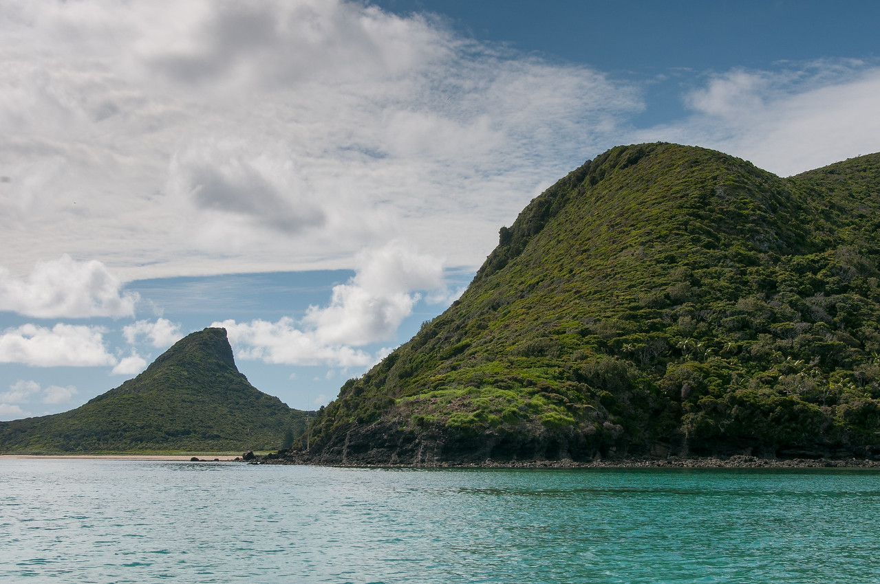 Seascape and mountains in Lord Howe Island