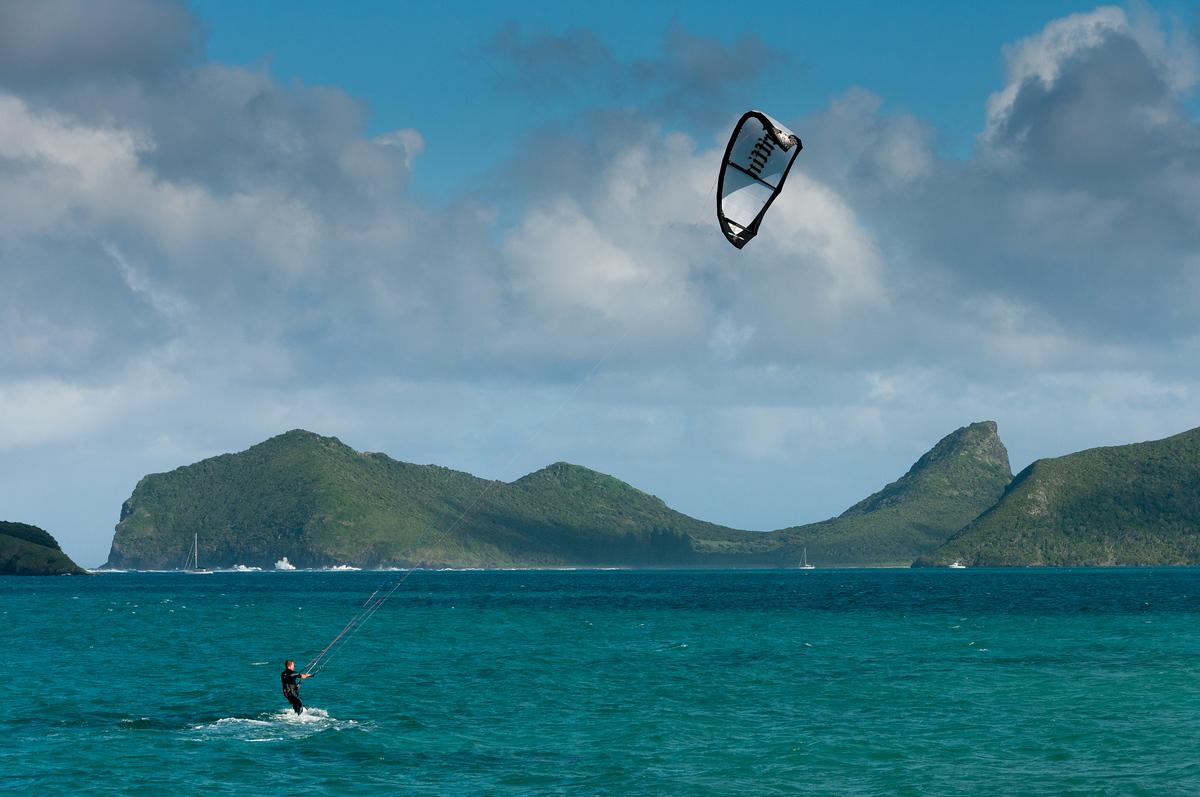 Kitesurfer at Lord Howe Island, Australia