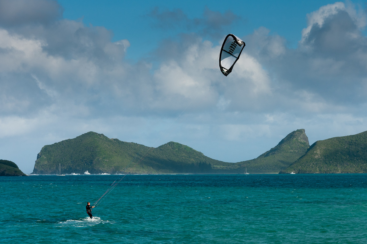 Kite surfer in Lord Howe Island