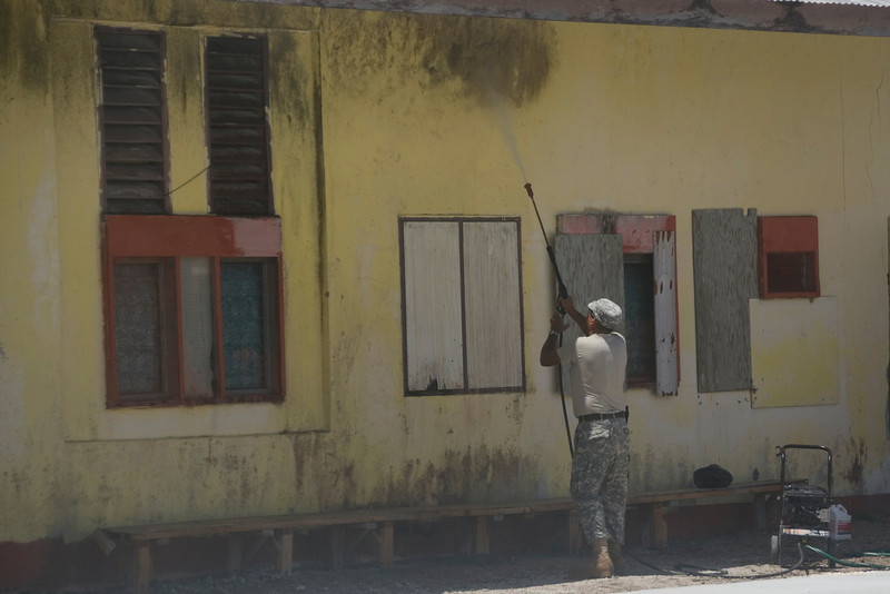 Army Engineer Cleaning Building - Majuro