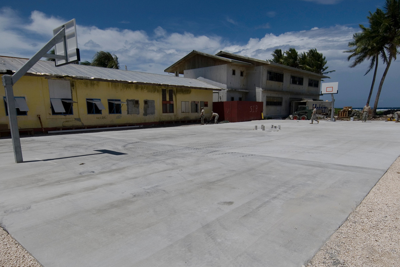 Army Engineers Constructing Basketball Court - Majuro