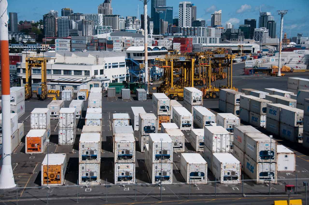 Busy port in Auckland, New Zealand