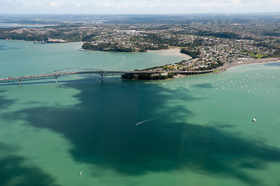 Auckland Harbor Bridge from the air - New Zealand